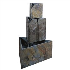 Slate Stacked Triangles Floor Fountain