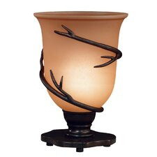"Twigs Peony Torchiere 10"" Table Lamp with  Bell Shade"