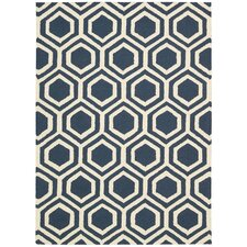 Linear Blue and Ivory Rug