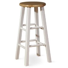 "29"" Roundtop Bar Stool (White/Natural)"