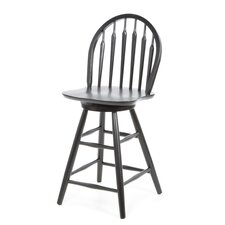"24"" Windsor Arrowback Swivel Counter Stool (Black)"
