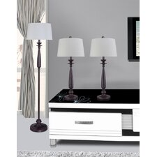 3 Piece Table Lamp Set with Empire Shade