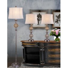 3 Piece Metal and Amber Glass Table Lamp Set
