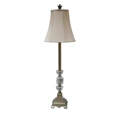 Resin and Crystal Buffet Table Lamp in Antique Silver