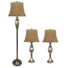 "Table and Floor 62.75"" H Table Lamp with Bell Shade (Set of 3)"