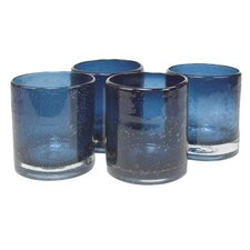 Iris Double Old Fashioned Glass in Slate Blue (Set of 4)