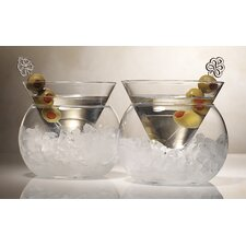Rockwell Stemless 2 Piece Martini Glass Set