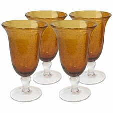 Iris Footed Iced Tea Glass in Amber (Set of 4)