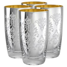 Brocade Highball Glass in Silver (Set of 4)