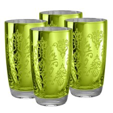 Brocade Highball Glass in Lemon Grass (Set of 4)