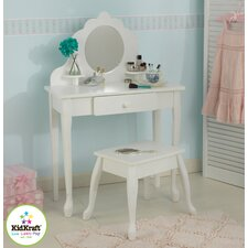 Diva 2 Piece Vanity Set with Mirror in White