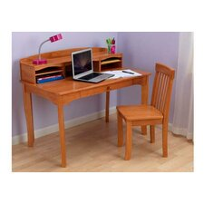 "Avalon 39.25"" W Writing Desk with Hutch and Chair"
