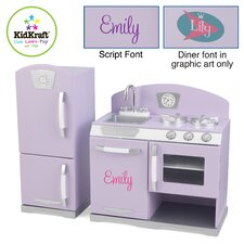 Retro Kids Personalized Kitchen and Refrigerator Play Set