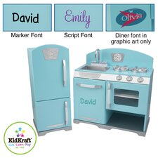 Retro Personalized Kids Kitchen and Refrigerator Play Set