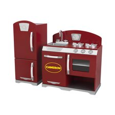 2 Piece Cranberry Retro Kitchen Set