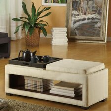 <strong>Armen Living</strong> Cancun Microfiber Double Tray Storage Bench in Cream