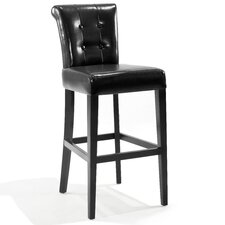 "Urbanity Sangria 30"" Tufted Leather Barstool in Black"
