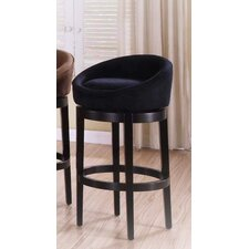 <strong>Armen Living</strong> Igloo Microfiber Swivel Barstool in Black