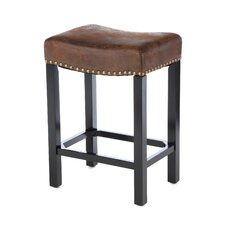 <strong>Armen Living</strong> Tudor Wrangler Backless Barstool in Brown