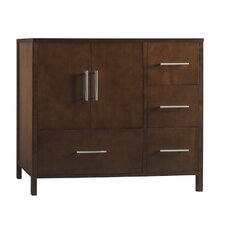 "Contempo Juno 38.35"" W Standard Bathroom Dark Cherry Vanity Base w/ Three Holes & Left Side Doors"