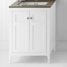 "Briella 24"" W Wood Cabinet White Vanity Base"