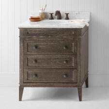 "Neo-Classic Laurel 30"" W Wood Cabinet Vintage Café Vanity Set with Carrara White Marble"