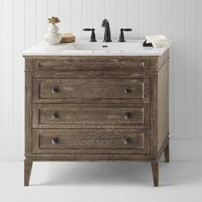 "Neo-Classic Laurel 36"" W Wood Cabinet Vintage Café Vanity Set with Ceramic White Sink Top"