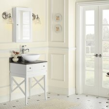 "Neo-Classic Angelica 23"" W Wood White Cabinet Vanity Set with Stone Gray Vanity Top"