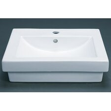 Rectangle Ceramic Vessel Bathroom Sink with Overflow
