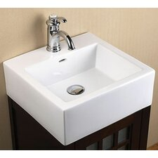Ceramic Square Vessel Bathroom Sink with Overflow