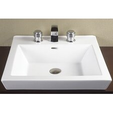 Square Tapered Ceramic Semi Recessed Vessel Bathroom Sink