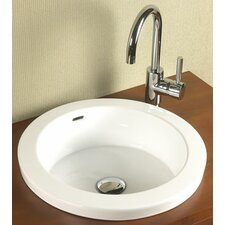 Round Semi Recessed Ceramic Vessel Bathroom Sink with Overflow