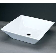 Square Ceramic Vessel Bathroom Sink without Overflow