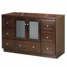 "Modular 48"" Shaker Bathroom Vanity Base with Glass Door"