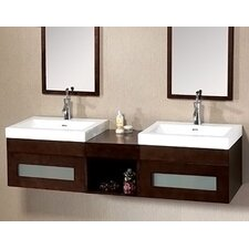 "Modular 61"" Shelf Brige Wall Mount Drawer Bathroom Vanity Set"
