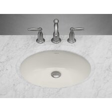 "Oval Undermount 16.13"" W  Ceramic Bathroom Biscuit Sink with Overflow"