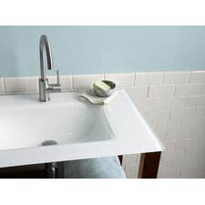 "32"" Tempered Cream White Glass with Integrated Sink Vanity Top"