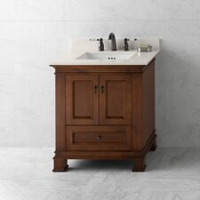 "Traditions 30.56"" Colonial Cherry Venice and Wide White Quartz Top and White Ceramic Sink"