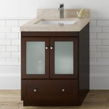 "Modular 24"" Dark Cherry Shaker Vanity and Cream Beige Top and White Undermount Sink"