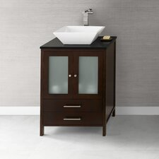 "Contempo 24""Dark Cherry Juno Vanity and Quartz Top with White Ceramic Vessel Set"