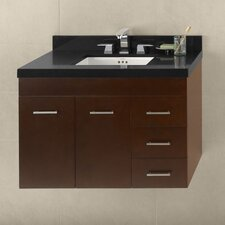 "Contempo 36"" Dark Cherry Bella Vanity and Broad Black Quartz Top Set"