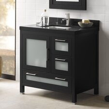 "Contempo 36"" Black Athena Vanity and Quartz Top Set"
