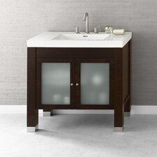 "Contempo 36"" Vintage Walnut Devon Vanity and Whie Evin Integral Ceramic Sinktop"