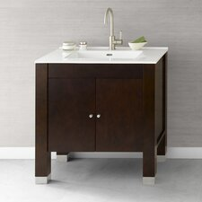 "Contempo 30"" Vintage Walnut Devon Vanity and White Integral Ceramic Sinktop"