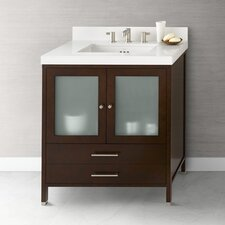 "Contempo 30.6"" Dark Cherry Juno Vanity and White Quartz Top Set"