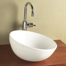 Sloped Rim Round Ceramic Vessel Bathroom Sink without Overflow