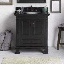 "Traditions 30"" Antique Black Venice and Black Granite Top with Oval Undermount Sink"