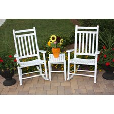<strong>Dixie Seating Company</strong> 2 Jumbo Adult Slat Seat Porch Rocking Chair with Table