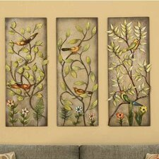 Birds and Leaves 3 Piece Painting Print on Canvas