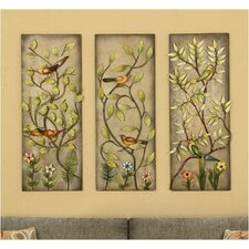 Birds and Flowers 3 Piece Painting Print on Canvas